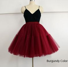 99ababec69 American Apparel 5 Layers Midi Tulle Red Skirts Tutu Skirt Womens Petticoats