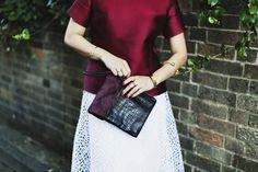 Satin Top - Iris & Ink. Skirt - Calvin Klein. Bracelets – ASOS. Bird bangle – Saught. Clutch – Kurt Geiger.