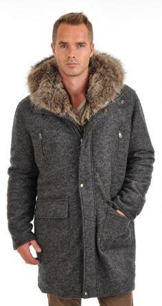 Manteau en laine et fourrure homme - Canadienne Griffes