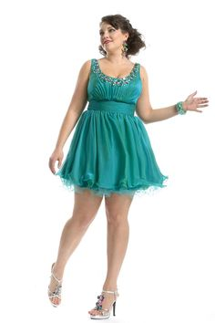 Party Time Plus Size Prom Gowns and Dresses Party Time Plus Size Short Prom - Style Number:6964