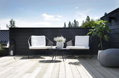 At terrace of Nina Holst Outdoor Areas, Outdoor Rooms, Outdoor Chairs, Outdoor Living, Outdoor Furniture Sets, Outdoor Decor, Outdoor Balcony, Scandinavian Garden, Scandinavian Furniture