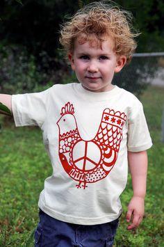 Organic Cotton Toddler Child Tee Red Peace by jupiterschild,