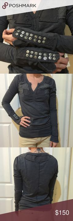 FREE PEOPLE Patchwork Rare Button Sleeve Henley Free People gray henley top with patchwork detail along the top half and exposed snap button detail along the sleeves. Very cute and unique- worn minimally. Size small and sold out online :) Free People Tops Tees - Long Sleeve