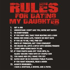 RULES FOR DATING MY DAUGHTER (L - BLACK) NEW PREMIUM T SHIRT - British Mum Dad Mummy Daddy Mother Father Day Slogan Funny Novelty Nerd Vintage retro top clothes Unisex Mens Ladies Womens Girl Boy Loosefit tshirt s joke keep Fashion Urban calm geek youth hipster dope street college cool yolo swag Dope Gift Birthday Christmas Present S M L XL 2XL 3XL 4XL 5XL- by Fonfella