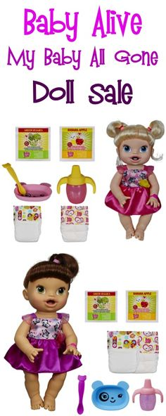 Baby Alive My Baby All Gone Doll Sale: $24.88! {includes doll, food, diapers and accessories} #dolls #thefrugalgirls