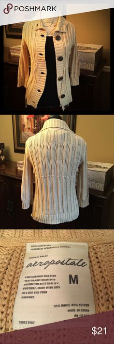 Aeropostale Tan Cardigan Sweater, Medium-Juniors Aeropostale Tan Cardigan Sweater, Medium  Excellent like-new condition and comes from a smoke-free home. Aeropostale Sweaters Cardigans