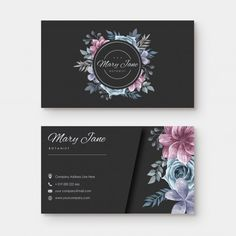 Business card with watercolor floral sty. Dental Business Cards, Art Business Cards, Makeup Artist Business Cards, Business Branding, Style Floral, Floral Logo, Visiting Card Design, Business Card Design, Floral Watercolor
