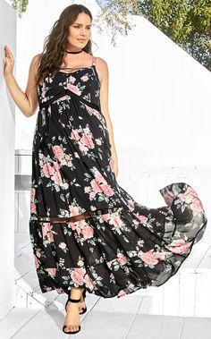 Plus Size Floral Tassel Maxi Dress