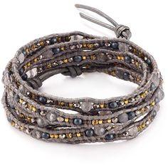 Chan Luu Gray Mix Leather Wrap Bracelet ($180) ❤ liked on Polyvore featuring jewelry, bracelets, grey, leather wrap bracelet, leather bangle, chan luu, gray jewelry and wrap bracelet