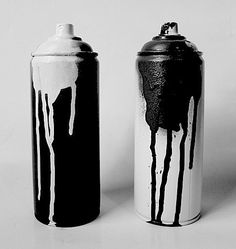 Black and White Spray Paint Cans