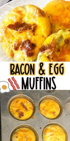 Easy Bacon Egg Muffins - so easy to make and perfect for a make-ahead breakfast. The Bacon muffins are delicious! Bacon Breakfast, Breakfast Muffins, Make Ahead Breakfast, Egg Recipes For Breakfast, Brunch Recipes, Breakfast Ideas, Sunday Breakfast, Bacon Recipes, Brunch Ideas