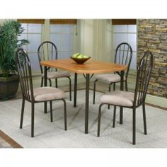 """Heath 5pc Dining Set (Cherry / Stone) (See Description) by Cramco. $335.00. Table Measures: 30""""H x 48""""W x 30""""D. Includes Dining Room Table and 4 Dining Chairs. Size: See Description. Color: Cherry / Stone. This item ships common carrier.. Transitional style and versatility are defined in the Heath 5pc Dining Set. This sophisticated dining room set features neutral tones and clean lines, creating an appealing atmosphere. Includes Dining Table and 4 Chairs Table Measures: 3..."""