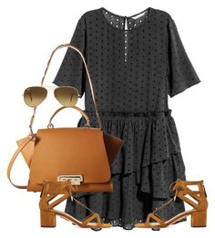 """Untitled #354"" by moniquitabl on Polyvore featuring ZAC Zac Posen, Aquazzura and Ray-Ban"