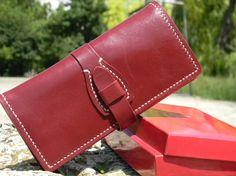 Cartera de piel billetera larga de cuero, monedero hecho a mano, cartera de tarjeta de cuero, cartera de piel Bifold, Biker Wallet, billetera para…