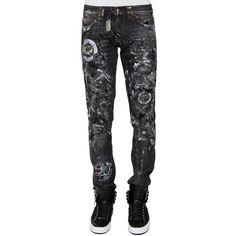 PHILIPP PLEIN 'KALEIDO' straight cut jeans ($705) ❤ liked on Polyvore featuring men's fashion, men's clothing, men's jeans and mens straight jeans