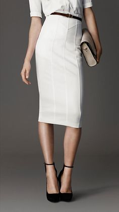 BURBERRY CORSET-JERSEY PENCIL SKIRT
