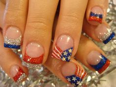 Red, White & Blue Stars & Stripes Glitter French Manicure style tips freehand holiday nail art Memorial Day, 4th of July.
