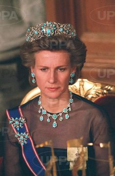 An earlier photo of the Duchess of Gloucester with the turquoise parure, circa mid 1980s.