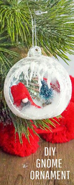 This DIY Homemade Ornament with Gnomes tutorial comes with a FREE template and clear step by step instructions for you can make your own! Homemade Ornaments, Diy Christmas Ornaments, How To Make Ornaments, Homemade Christmas, Simple Christmas, Holiday Crafts, Christmas Bulbs, Christmas Gnome, Green Christmas