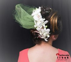Flowers ornament with great hairstyle.