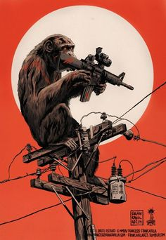 POWER TO THE APES Concept & Art by Francesco Francavilla Artwork © 2014 Francesco Francavilla Limited Edition Giclee Art-prints will go on sale tomorrow, July Cheers, FF Monkey Art, Planet Of The Apes, Art Et Illustration, Geek Art, Illustrations And Posters, Oeuvre D'art, Comic Art, Character Art, Fantasy Art