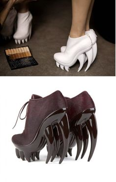 Fang, the terrifying and beautiful shoes for Iris van Herpen for United Nude. Funky Shoes, Crazy Shoes, Cute Shoes, Me Too Shoes, Weird Shoes, Bootie Boots, Shoe Boots, Weird Fashion, Fashion Shoes