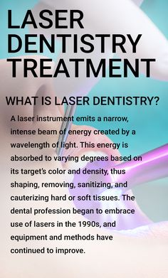 How does laser treatment work in dentistry? - How does laser treatment work in dentistry? Laser treatment for teeth has been in dentistry for almost 25 years, and they have resolved several dental Dentistry Education, Family Dentistry, Dental Hygiene, Dental Care, Laser Dentistry, Dental Posters, Tooth Replacement