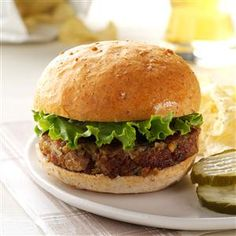 Mushroom Burgers Recipe -Ready to turn over a new burger? I guarantee no one will be missing the beef after tasting these vegetarian burgers. They're moist, tender and full of flavor. —Denise Hollebeke, Penhold, Alberta