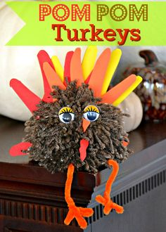 Pom Pom Turkeys are a fun and easy craft for Thanksgiving! | MomOnTimeout.com