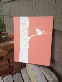 REDUCED Original Textured Birch Tree and Song Bird Art on Coral Canvas Painting (Mixed Media)(16X20)- Baby Girl Nursery Art. $40.00, via Etsy.