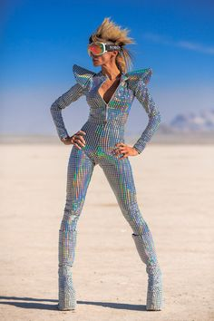 Burning Man neo seventies david bowie glam classic look....mirrored. reflects the sunlight. covers you and protects from the dust. flat platform boots so you can ride a bike. goggles.