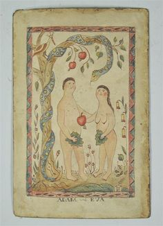Adam and Eva; 19th century folk art watercolor, 9x6""