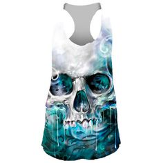 Inked Boutique - Ocean Skull Sublimation Tank Top Turquoise/White Punk www.inkedboutique.com