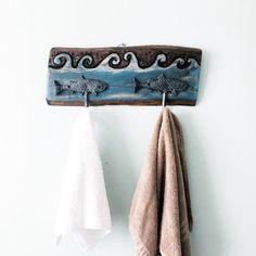 Towel Rack Wood Hand Carved Ocean wave Cast by EcoArtWoodDesign