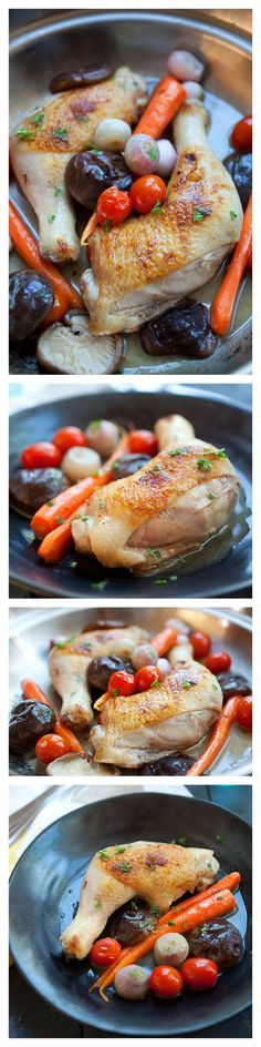 Braised Chicken With Carrots and Mushroom - ready in 30 minutes, and can be made on skillet | http://rasamalaysia.com