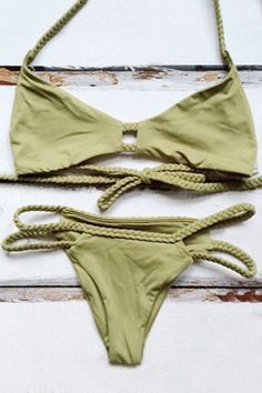Halter Green Braid String Bikini Set OUT OF STOCK | http://www.zaful.com/halter-green-braid-bikini-set-p_145952.html