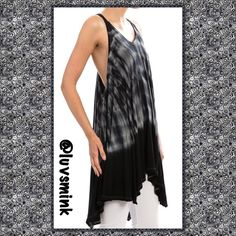 TIE/DYE OPEN BACK HANDKERCHIEF HEM TUNIC - MEDIUM Deep open back tie dye handkerchief hem tunic top in Charcoal and Grey. A great staple piece to go with so many different things already in your closet. Recommend a bralette or tube bra underneath. Sizing is S/M/L, please refer to the chart for your size. 96%/4% Poly/Spandex.  Length is 37 inches. All sales final.  No trades or Holds. Price firm unless bundled. This listing is a size MEDIUM ru Tops Tunics