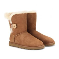 UGG Australia Bailey Button Shearling Boots ($323) ❤ liked on Polyvore featuring shoes, boots, ankle booties, uggs, ankle boots, chestnut, button boots, round toe boots, short boots and shearling booties