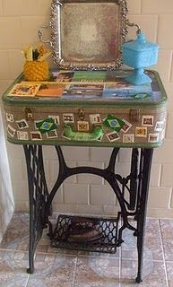 Suitcase Sewing Machine Base Accent Table