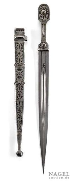 Kinjal with marked blade and niello silver scabbard, Caucasus, circa 1870. Provenance: From an old important private collection in Alsace.
