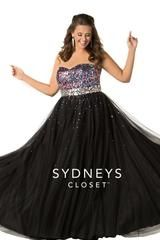 SC7106 has sequins in a variety of colors on the bodice and a sweetheart neckline. Mirrored jewel stones on the waistband and a lace-up back. Floor-length A-line skirt