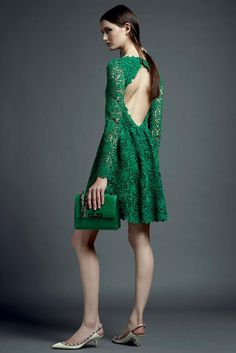 Emerald lace backless dress / Valentino
