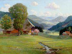 "Arnold Lyongrün: Frühling im Schwarzwald, Ölgemälde 1912 / ""Spring in the Black Forest"" Oilpainting 1912"