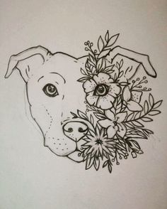 Turn this into a lotus tattoo!! Staffy tattoo Staffordshire bull terrier Floral Flower tattoo - Tap the pin for the most adorable pawtastic fur baby apparel! You'll love the dog clothes and cat clothes! <3