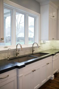 Double sinks in the kitchen. Love.