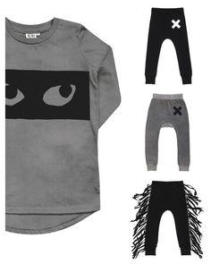 Beau LOves - Kids t-shirt Eyes, Vintage Washed Grey - combo