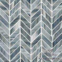 Chevron, a handmade mosaic shown in polished Greystoke | The Studio Line of Ready to Ship mosaics | New Ravenna