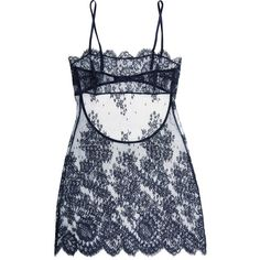 I.D. Sarrieri Chantilly lace and tulle chemise (4,455 CNY) ❤ liked on Polyvore featuring intimates, chemises, lingerie, underwear, blue, lace lingerie, tulle slips, blue lingerie, lingerie chemise and lacy lingerie