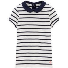 Cotton jersey  Peter Pan collar Short sleeves Snap buttons in the back Stripe print - $ 34