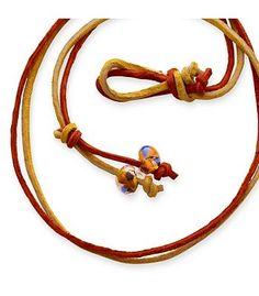 Rust & Gold Leather Necklace with Bead Clasp | James Avery